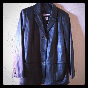 Women's Large Black Leather Blazer Jacket